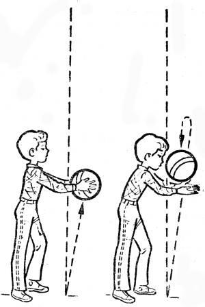 бросание мяча вверх и ловля двумя руками